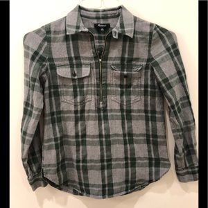 Madewell Xs plaid flannel popover half zip shirt